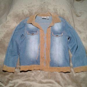 Chico's Faded Denim & Leather Trim Jacket